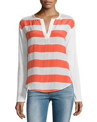 Ella Moss Millie Striped Split Neck Tee Coral Ivory