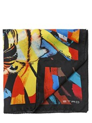 Etro Tiger Printed Silk Satin Pocket Square