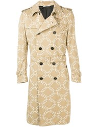 Valentino Double Breasted Logo Print Trench Coat Neutrals