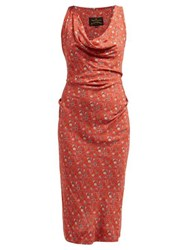 Vivienne Westwood Anglomania Virginia Floral Print Jersey Dress Red