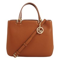 Michael Michael Kors Anabelle Medium Top Zip Leather Tote Bag Luggage