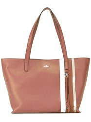Hogan Stripe Tote Bag Women Leather One Size Brown