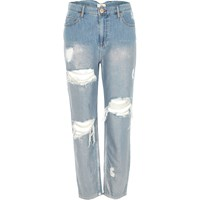 River Island Mid Blue Metallic Ripped Mom Jeans