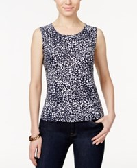 Jm Collection Petite Cheetah Print Jacquard Tank Top Only At Macy's Blue Cheetah