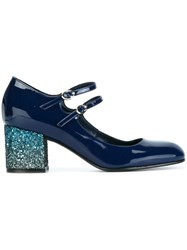 Pollini Glitter Heel Mary Jane Pumps Blue