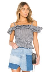 Kendall Kylie Ruffle Dixie Top Black And White