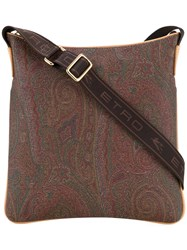 Etro Paisley Print Shoulder Bag Women Calf Leather One Size Brown