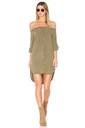 Bella Dahl Off Shoulder Button Front Dress Army