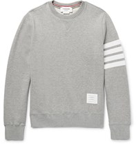 Thom Browne Striped Loopback Cotton Jersey Sweatshirt Gray