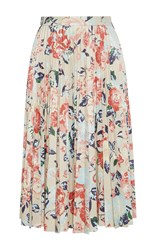 Msgm Floral Faux Leather Pleated Skirt
