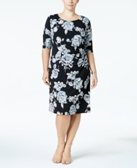 Connected Plus Size Gathered Side Sheath Dress Gray