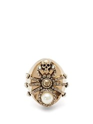 Alexander Mcqueen Spider Pearl And Crystal Embellished Ring Gold
