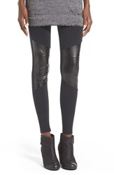 Junior Women's Sun And Shadow Leggings With Faux Leather Trim