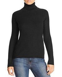Magaschoni Thin Ribbed Cashmere Turtleneck Sweater Black