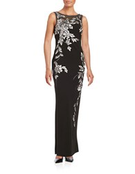 Sue Wong Floral Embroidered Gown Black