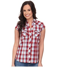 Roper 9540 Vermillion Check Red Women's Short Sleeve Button Up