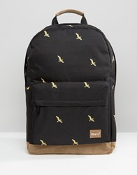 Spiral Backpack With Bird Print Black