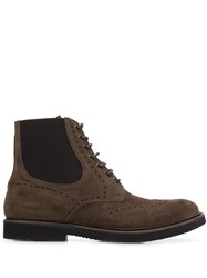 Eleventy Perforated Lace Up Boots Brown