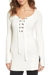 Trouve Women's Ribbed Lace Up Sweater White Snow