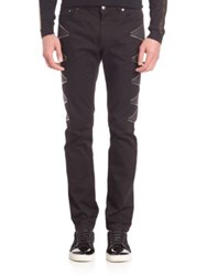 Versace Studded Straight Leg Jeans Black