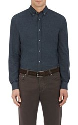 Brunello Cucinelli Men's Cotton Leisure Fit Shirt Dark Grey