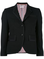 Thom Browne Classic Fitted Blazer Women Silk Polyester Wool 40 Black