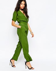 Motel Croft Military Jumpsuit With Plunge Neck Moss Green