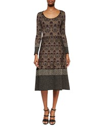 Etro Contrast Trimmed Damask Print Midi Dress Women's
