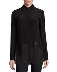 Mcq By Alexander Mcqueen Long Sleeve Fluid Silk Blouse Black