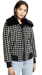 Jocelyn Teddy Bomber Jacket Black White