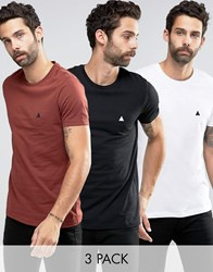 Asos 3 Pack T Shirt With Logo In White Black Red White Black Hotspice Multi