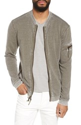 John Varvatos Burnout French Terry Zip Sweater Army Green