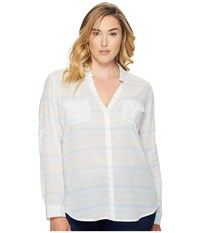 Columbia Plus Size Sun Drifter Long Sleeve Shirt Iceberg Stripe Women's Long Sleeve Button Up White