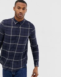 Bershka Check Shirt In Navy Blue
