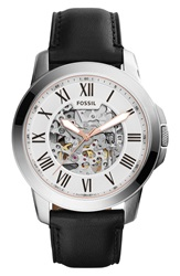 Fossil 'Grant' Automatic Leather Strap Watch 45Mm Black White Silver