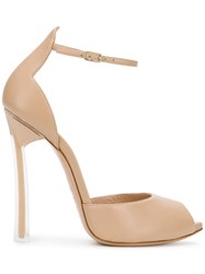 Casadei Peep Toe Sandals Nude And Neutrals