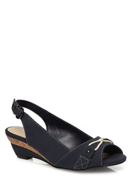 Evans Extra Wide Fit Navy Canvas Peeptoe Wedge Shoes