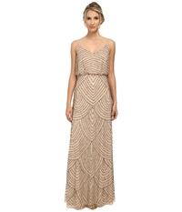Adrianna Papell Long Deco Bead Blouson Champagne Women's Dress Gold