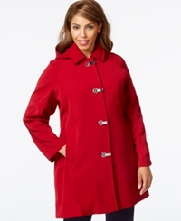 London Fog Plus Size Hooded Clip Front Jacket Red