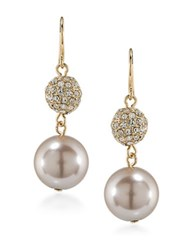 Carolee Pink Champagne Faux Pearl Double Drop Earrings Gold