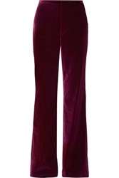 Alice Olivia Lorinda Velvet Wide Leg Pants Purple