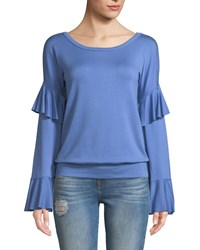 Bailey 44 Valedictorian Long Sleeve Ruffle Top Blue