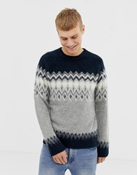 Pier One Fair Isle Jumper In Navy And Grey Blue