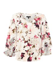 Episode V Neck Floral 3 4 Length Sleeve Blouse Multi Coloured Multi Coloured