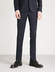 Sandro Slim Fit Wool Jacquard Tuxedo Trousers Marine