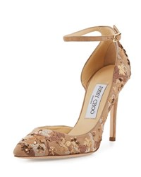 Jimmy Choo Lucy Sequined Half D'orsay Pump Nude Mix