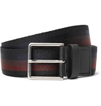 Paul Smith 3.5Cm Leather Trimmed Striped Webbing Belt Black