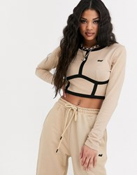 Criminal Damage Long Sleeve Crop Top With Contrast Panels Co Beige