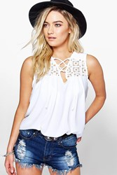 Boohoo Crochet Lace Up Woven Top White