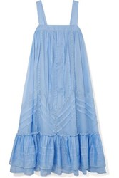 Paul And Joe Ruffled Lace Trimmed Cotton Voile Dress Blue
